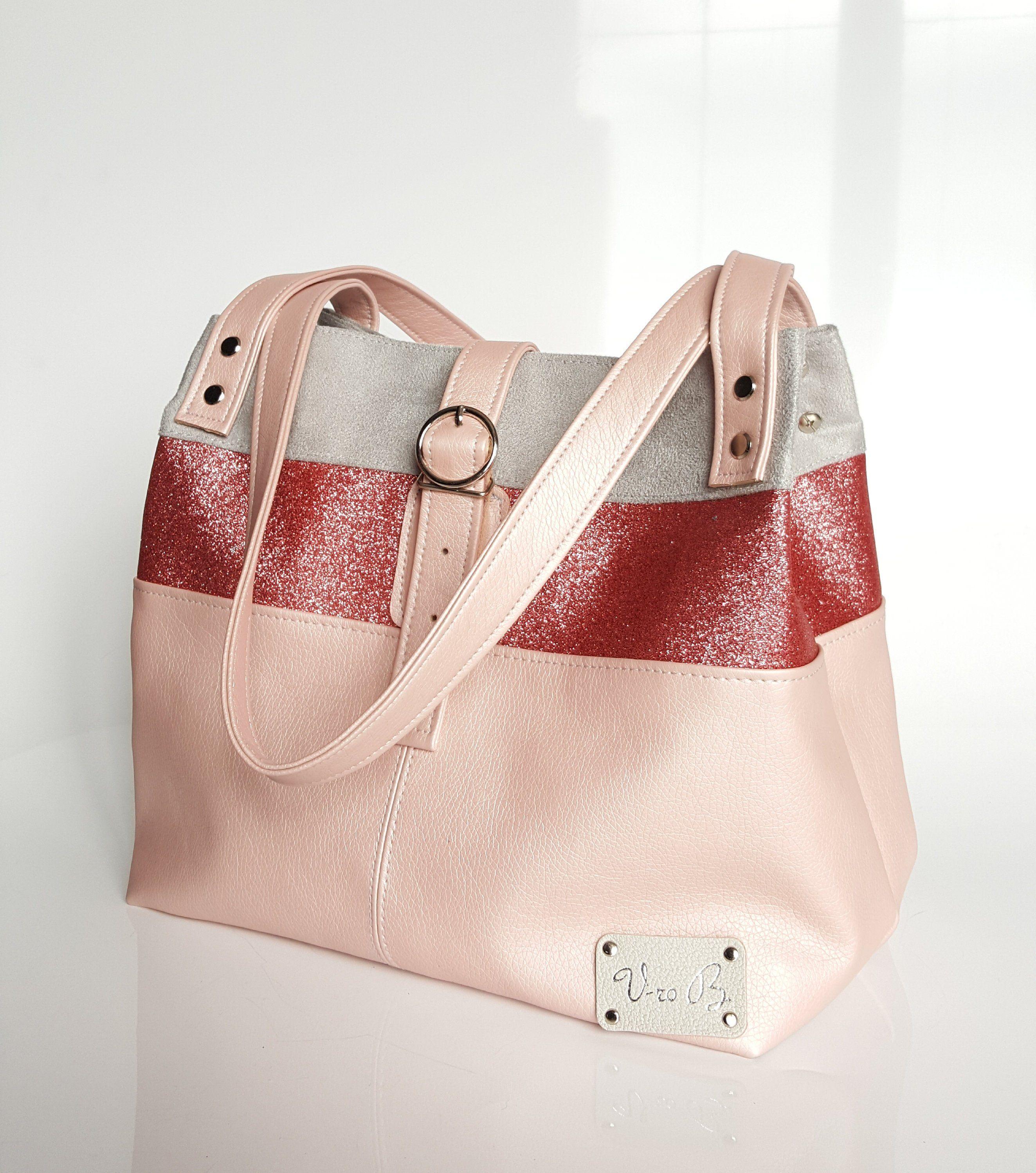 Sac a main tricolore simili cuir rose nacré de la boutique  VroBbagsCreations sur Etsy 53b40f122397