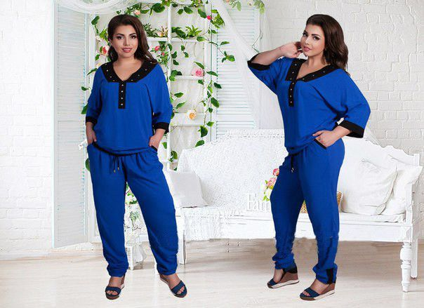 Dmart7deal Plus size L-6XL New Women Fashion suit 2016 3/4Sleeve Sexy V-neck patchwork Women's 2 Pieces Summer Female Casual Clothing