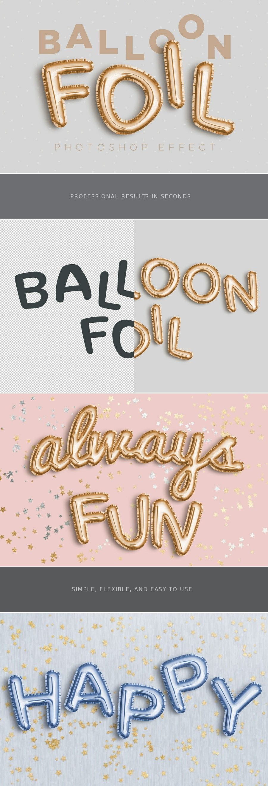 Foil Effect Easily create a realistic balloon foil effect with this Photoshop template. Just replace the included Smart Object with your own design and change the color to any color that you wish. Any type of design is supported (vector shapes, raster or a simple font) and you can easily change the color by controling the HSL values.Easily creat...