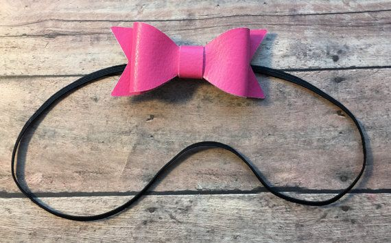 Hot Pink Faux Leather Bow on Thin Elastic Headband by MissBeesBows