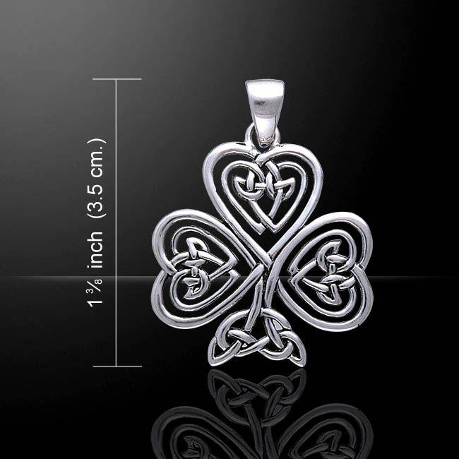 Peter Stone Celtic Knotwork Shamrock & Irish Claddagh Silver Pendant
