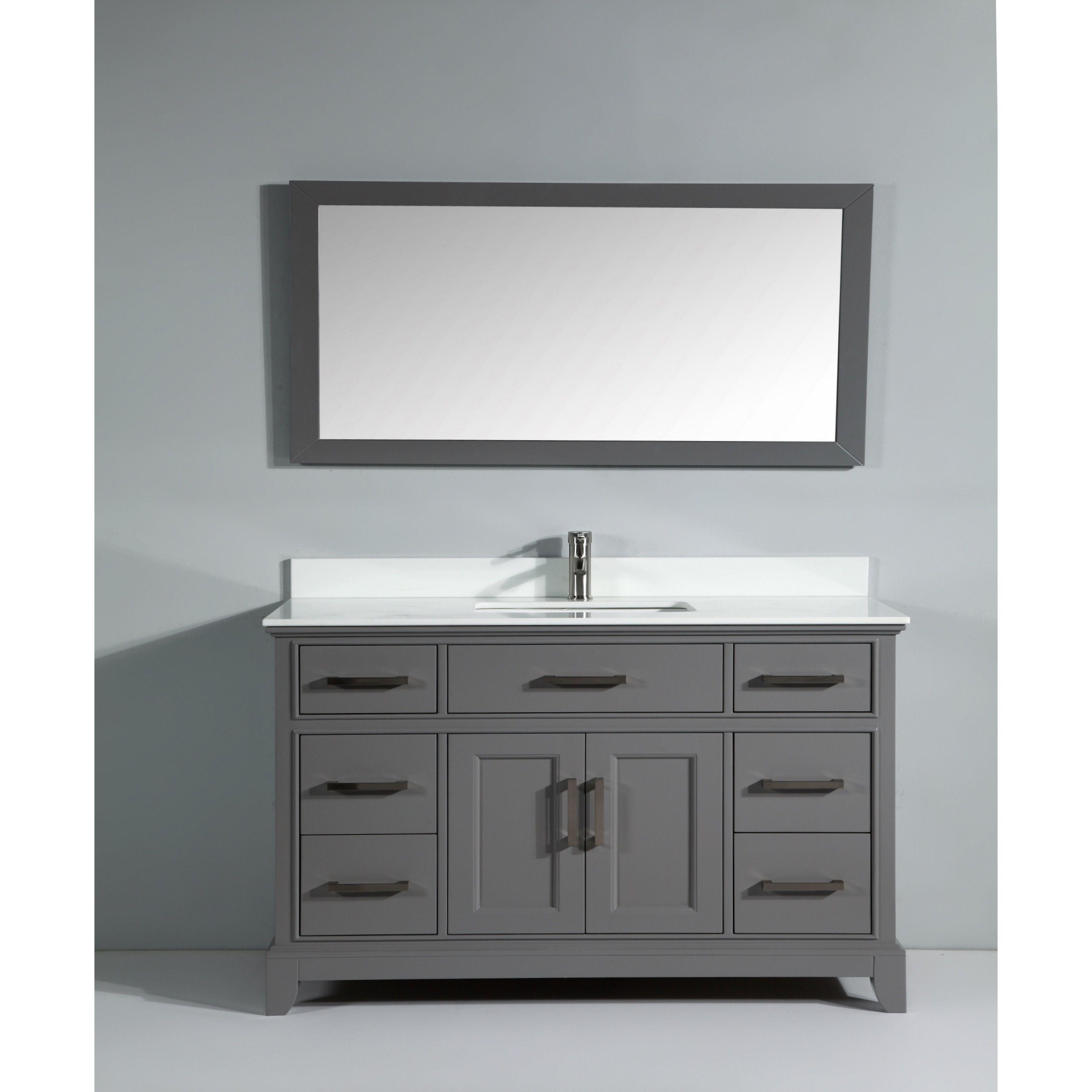 Vanity Art 60 Inch Single Sink Bathroom Set With Phoenix Stone Top