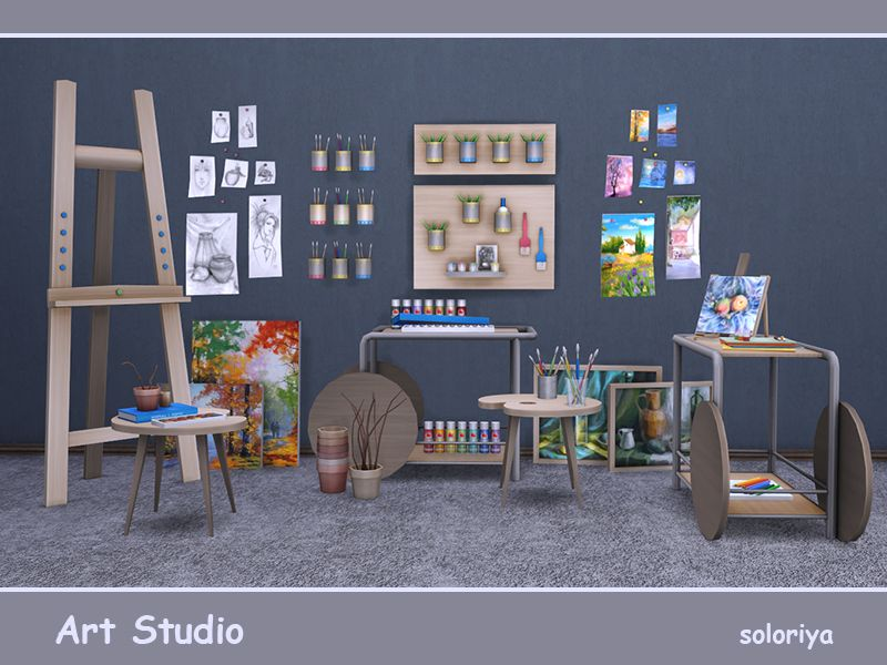 Art studio set. Includes 19 objects, has 3 color variations. Items in the set: Found in TSR Category 'Sims 4 Miscellaneous Sets'