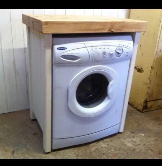 Washing Machine In Kitchen Design: Pine Freestanding Handmade Appliance Gap Unit Dishwasher