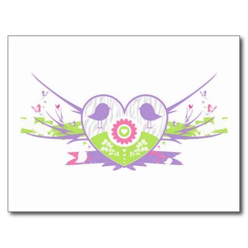 Valentine Bird Flower Heart Postcards