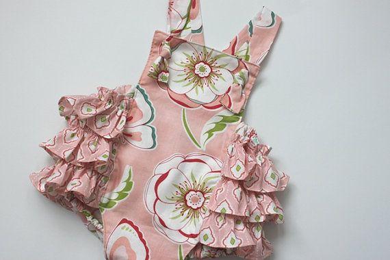 Pink Garden Baby Romper  Newborn to 24 months by HereAStitch, $30.00