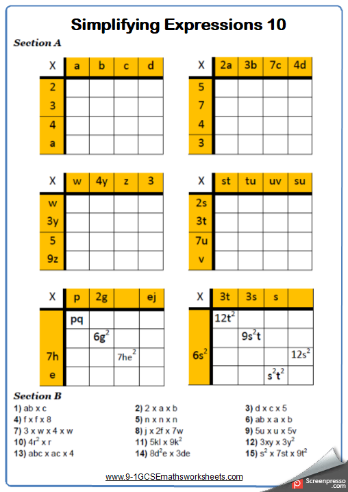 Simplifying Expressions Worksheet Gcse Maths Worksheets And