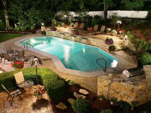 Pacific Pools Lazy L Roman End Style Pool Latham Pool Swimming Pool Designs Backyard Pool Swimming Pools Backyard