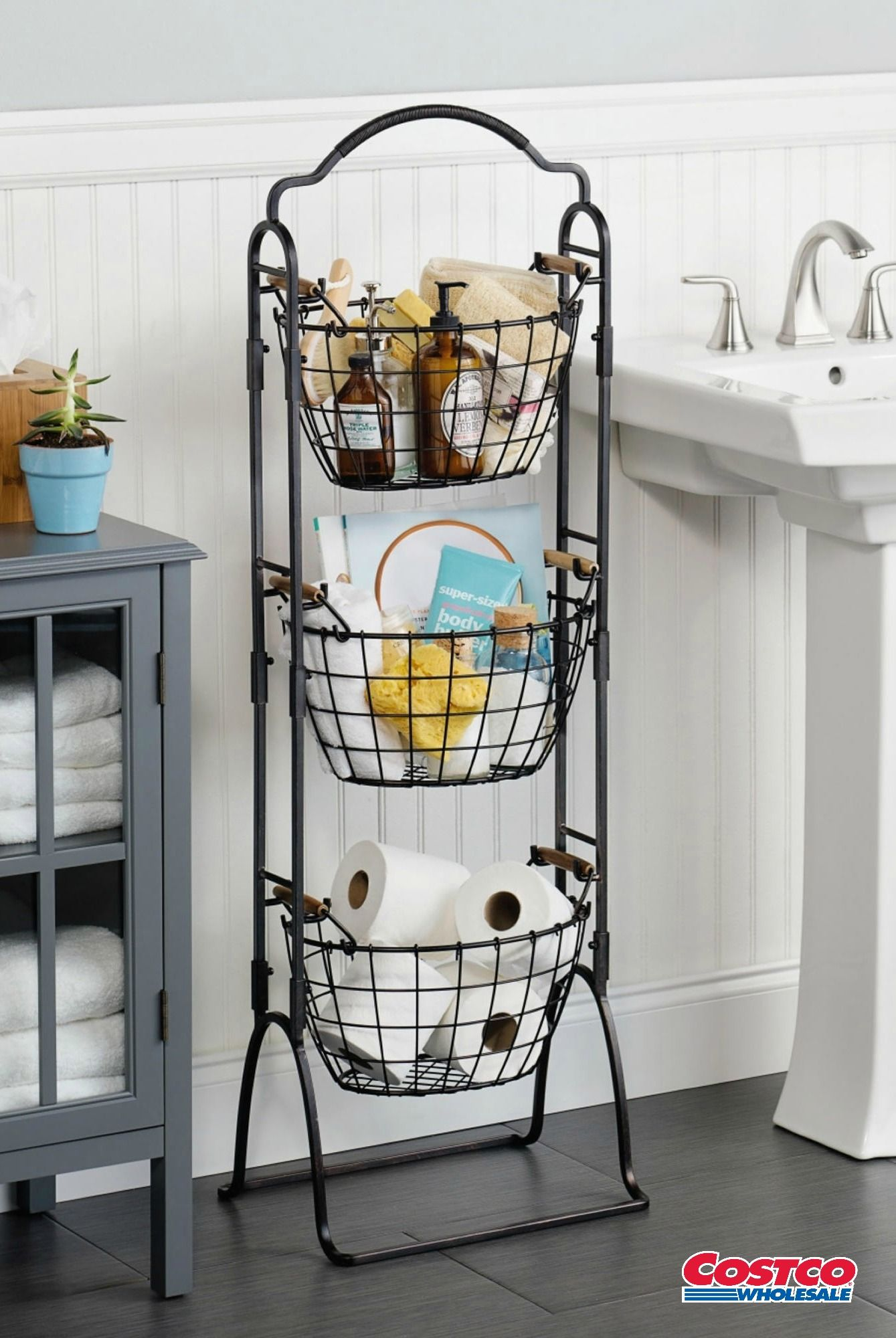 This 3 Tier Market Basket Stand is an attractive storage solution