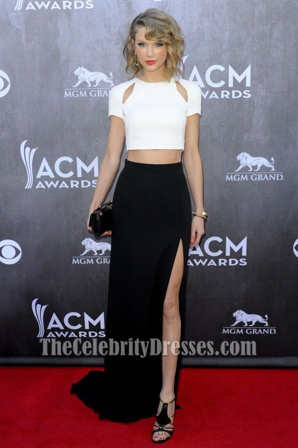 Taylor Swift White And Black Formal Dress 2014 ACM Awards Red Carpet ...