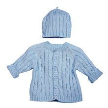 Light Blue Cable Sweater Hat Set