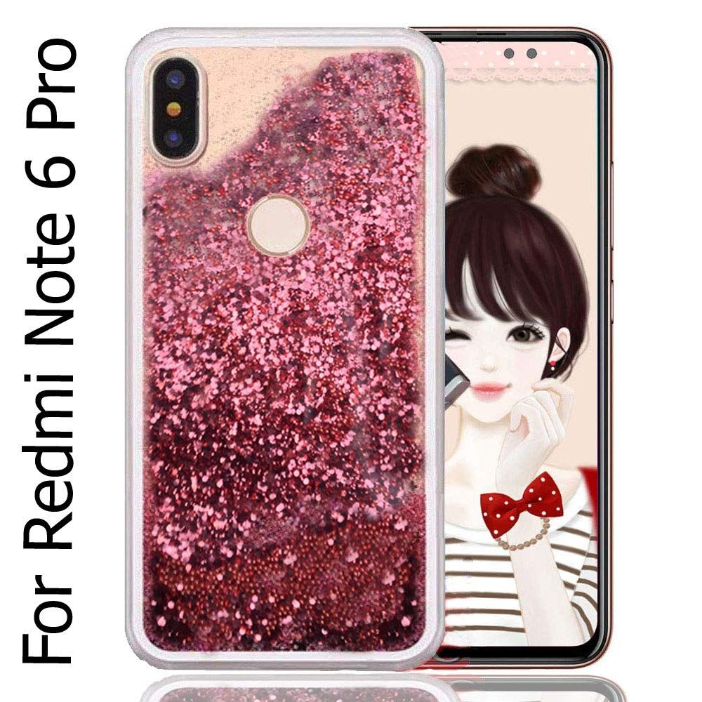 Dark Rose Gold Color High Fashion Beads Balls Soft Transparent Liquid Glitter Dynamic Quicksand Cascades Back Cover For Xi Fashion Beads Rose Gold Color Xiaomi