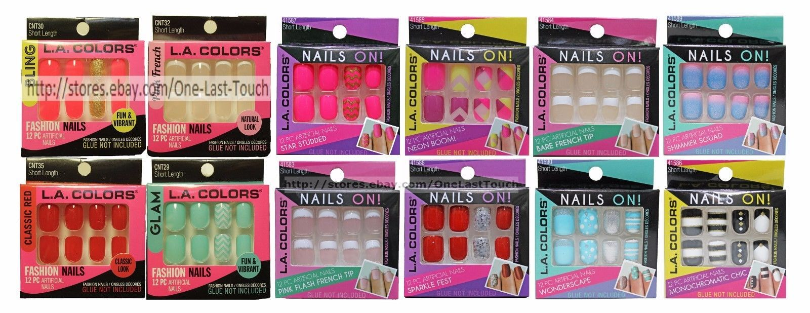 L.A. COLORS*12 pc Artificial FASHION NAILS Press/Glue-On SHORT New ...