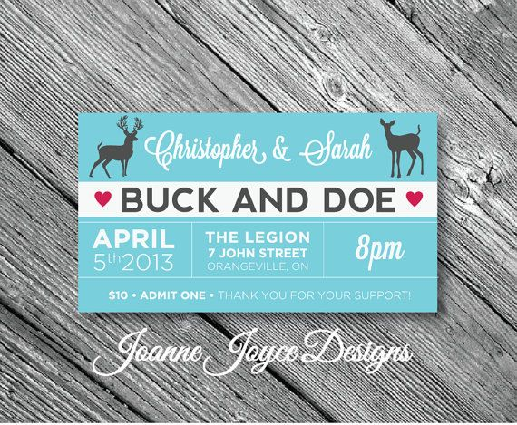 250 Buck And Doe Ticket Stag By JoanneJoyceDesigns