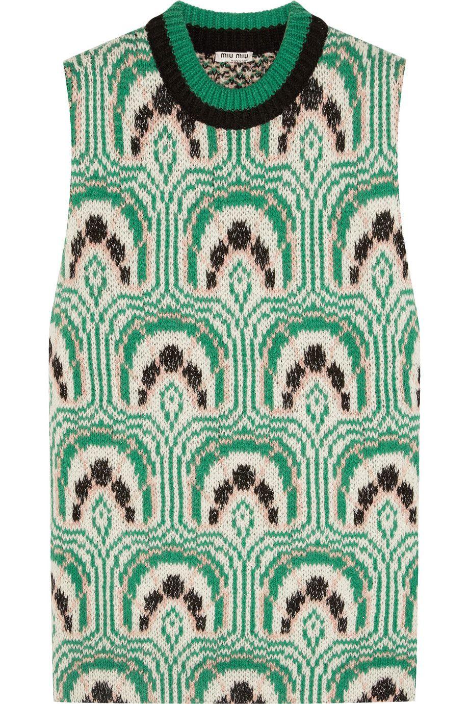Miu Miu   Intarsia wool-blend top   NET-A-PORTER.COM