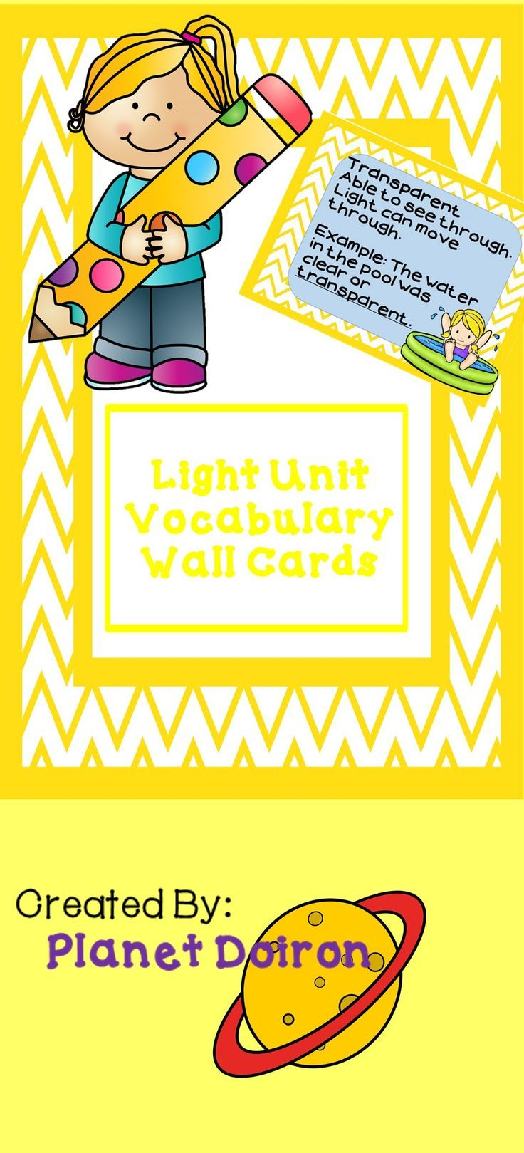 Elementary Physical Science Light Unit Vocabulary Wall Cards ...