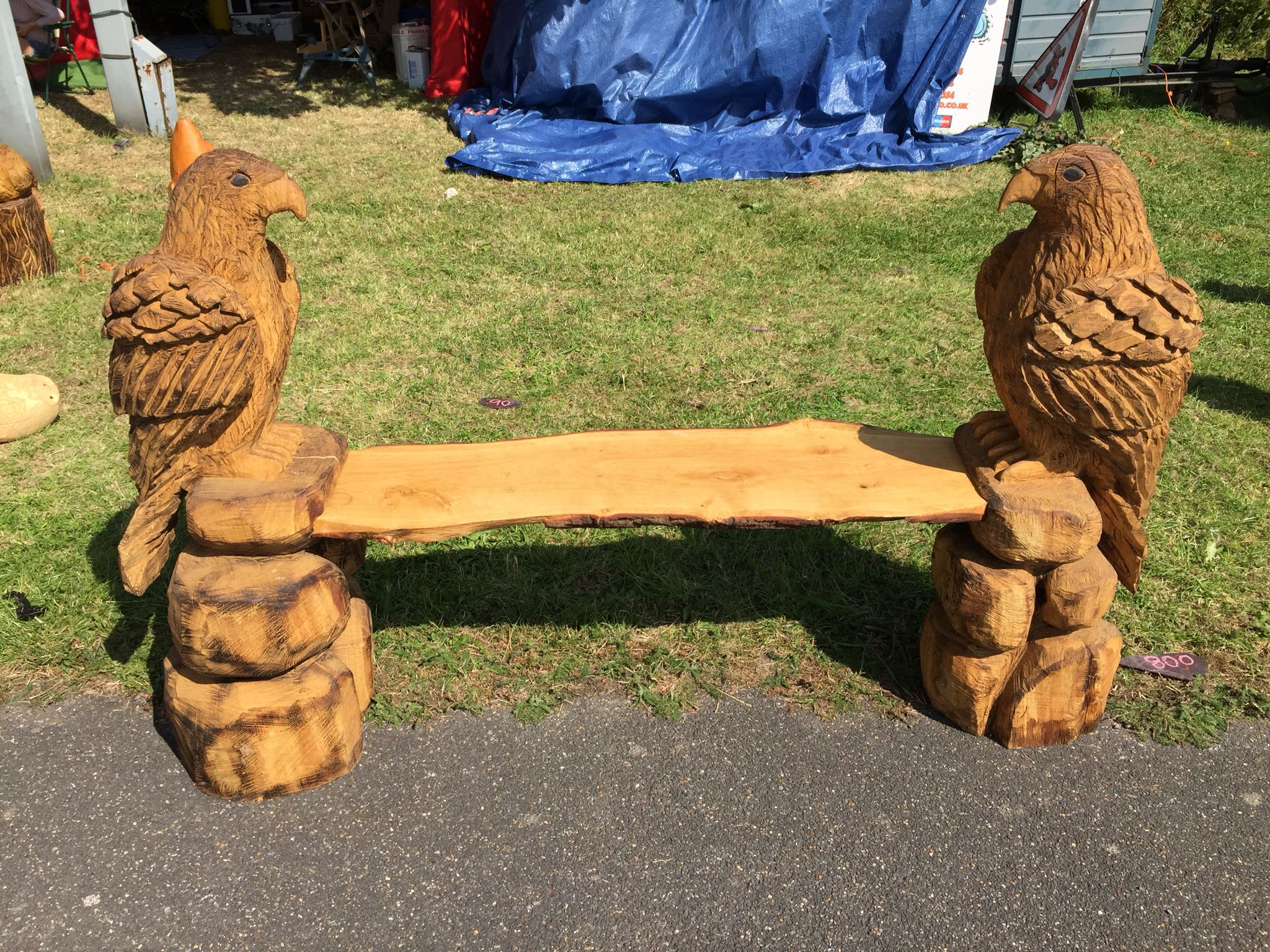 Eagle bench chainsaw carving dremel carving wood sculpture