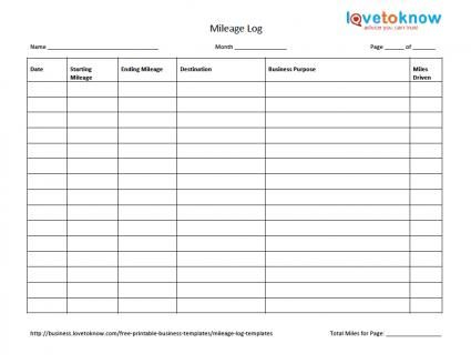 Mileage Log Templates Useful documents Receipt template
