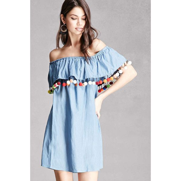 ed044030026d Forever21 Chambray Off-the-Shoulder Dress ($38) ❤ liked on Polyvore  featuring dresses, light blue, short dresses, off shoulder dress, blue dress,  light ...