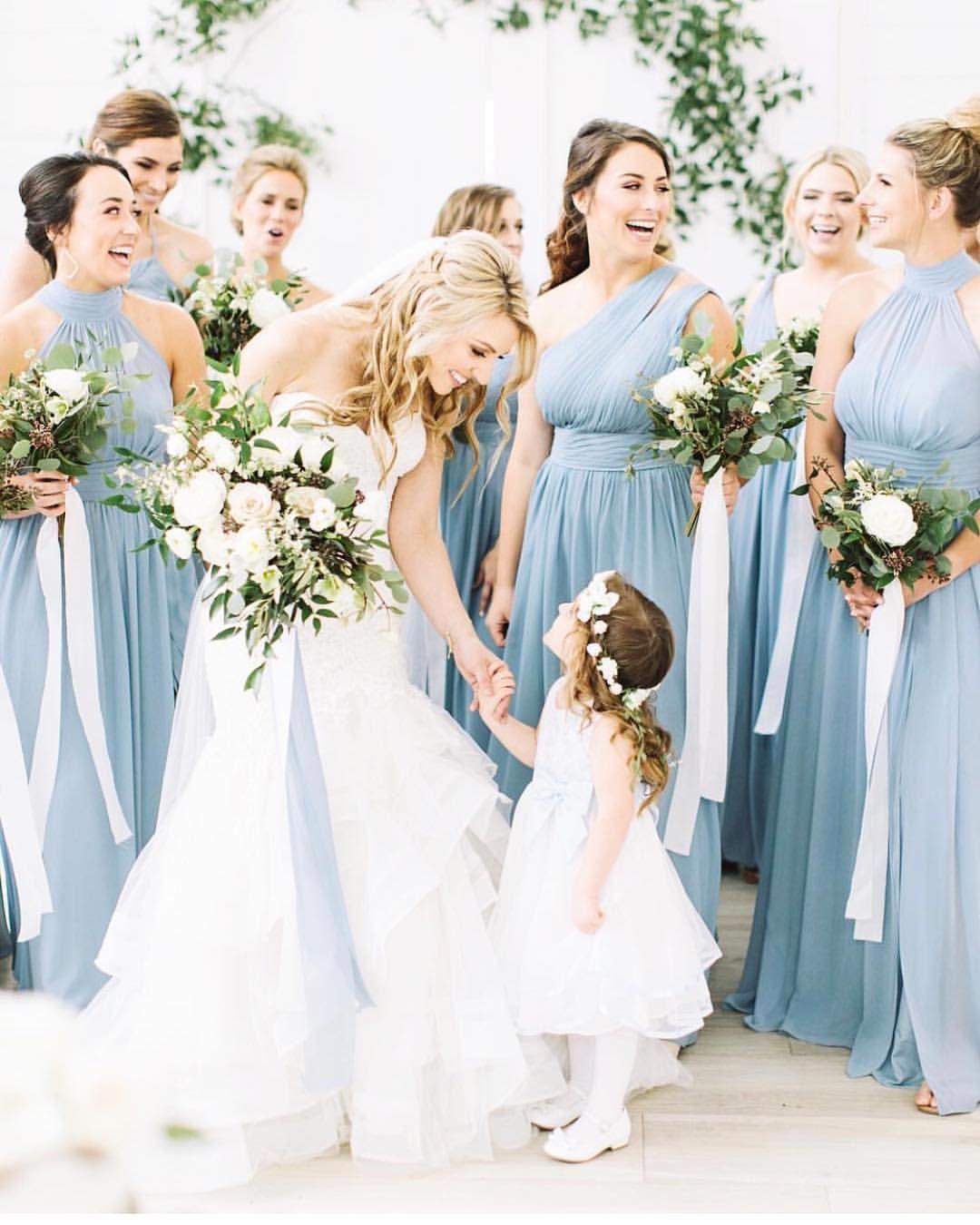 "bd9fcc87a5a4 Azazie on Instagram: ""Dusty Blue 💙💕| 📷: @katiebethlamb"" | Wedding ..."