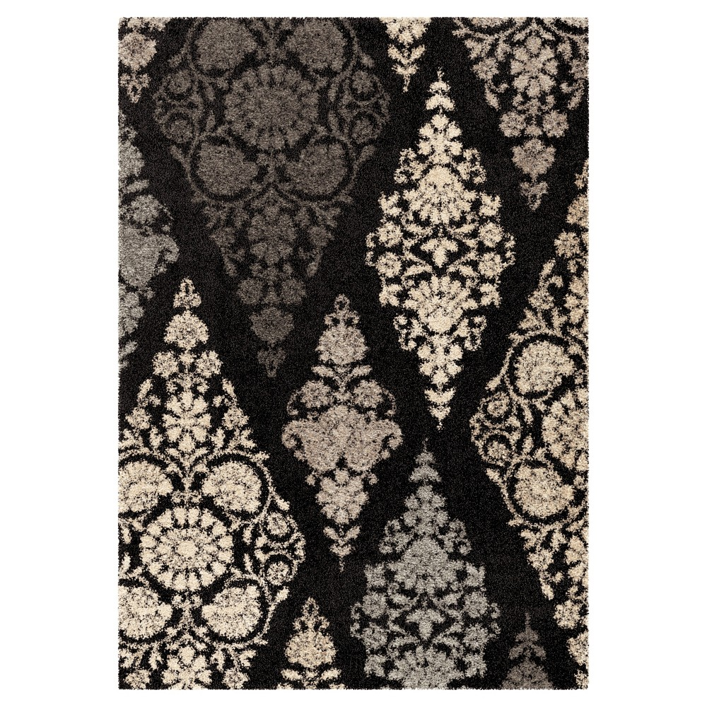 "Black Abstract Woven Area Rug - (7'10""X10'10"") - Orian"
