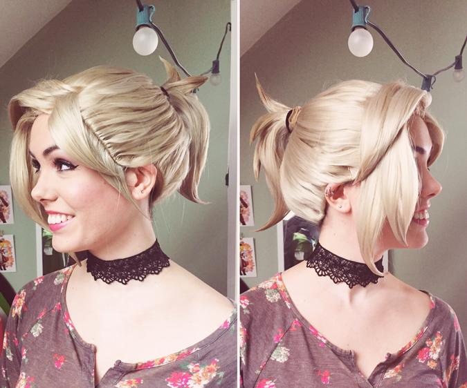 This weekend, I spent my entire Saturday documenting styling my Mercy wig. Yikes. I've cosplayed 2 characters in the past with ponytail wigs, and after those two horrible experiences I vowed I would never cosplay a character with a ponytail