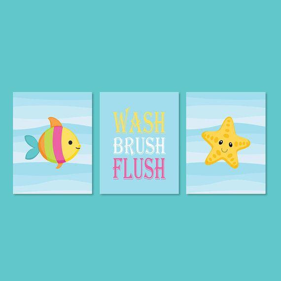 Sea Animal Wall Art, Prints Or Canvas, Kids Bathroom Decor, Wash