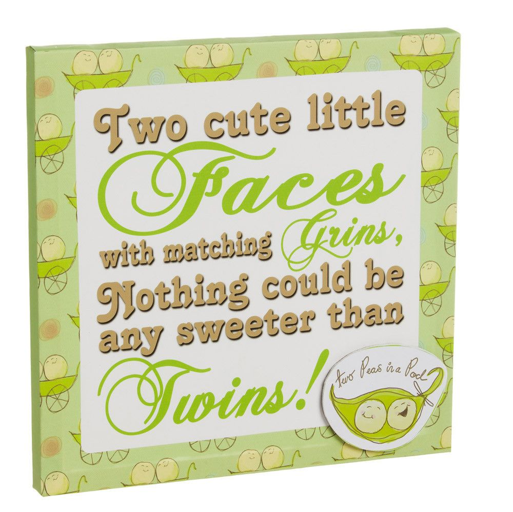 Peas in a Pod Green and Beige Twins 3D Stretched Canvas Wall Decor