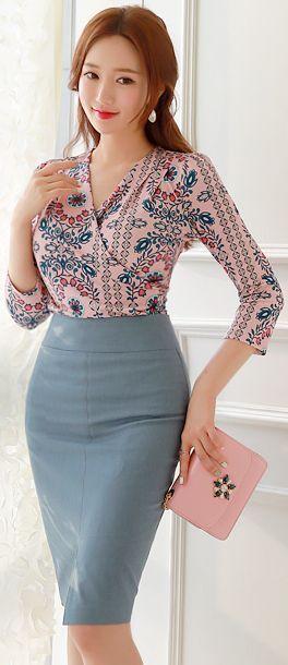 gray Skirt + pattern wrap blouse