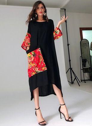 Floral Pockets 3/4 Sleeves High Low Shift Dress | Lässig kleidung ...