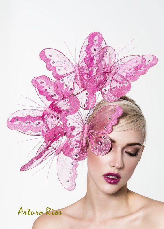 Items similar to Beautiful pink butterflies headpiece, derby fascinator, kentucky derby hat on Etsy