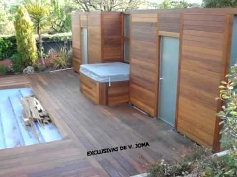 Realizacion de jardin en tarima tropical y porche de madera exterior