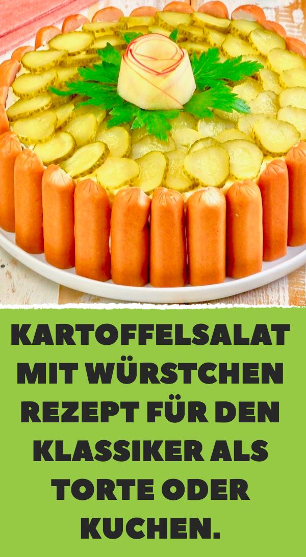 Kartoffelsalat mit Würstchen – Rezept für den Klassiker als Torte oder Kuchen. #sausagepotatoes