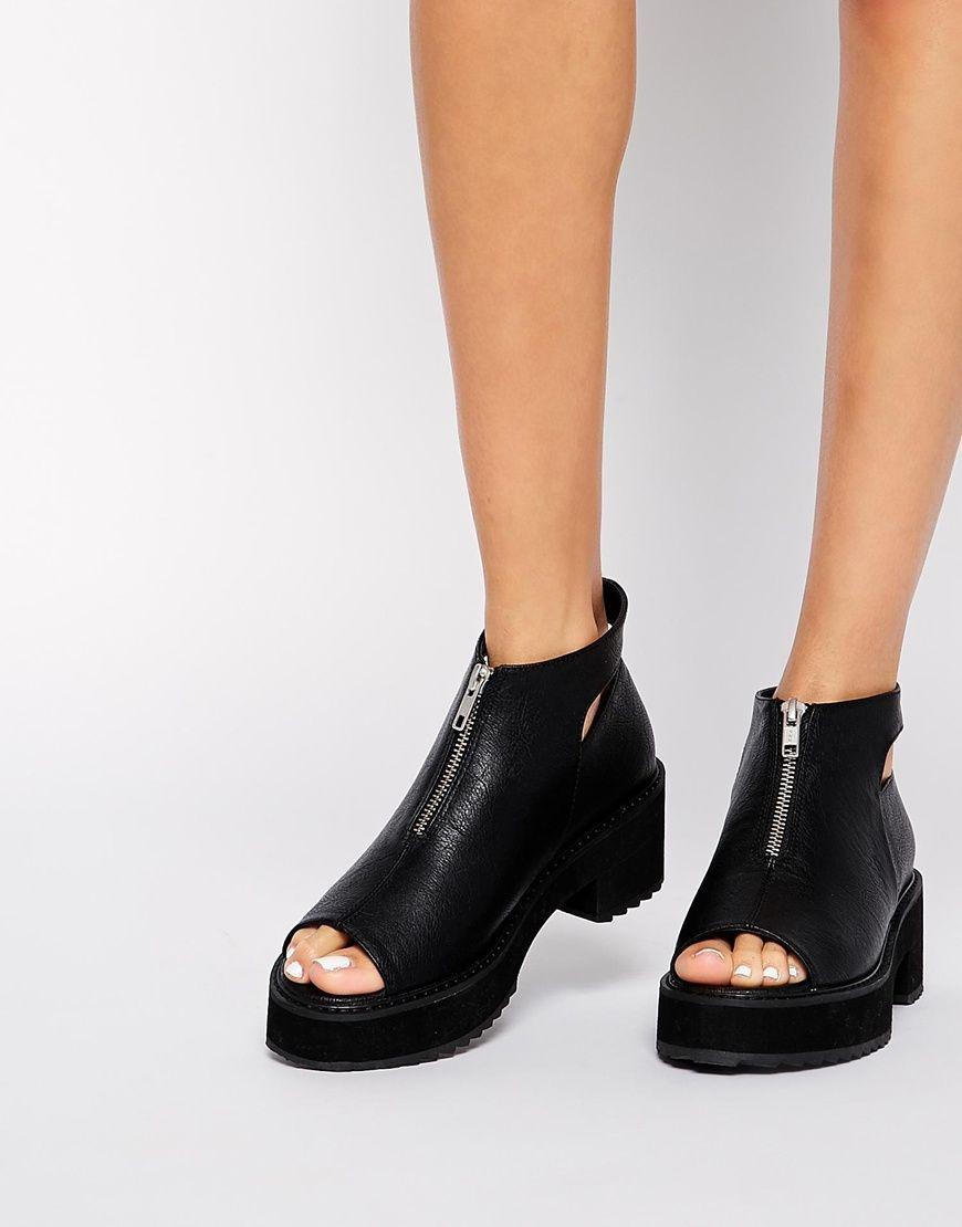 Enlarge ASOS REMIND ME Peep Toe Zip Front Ankle Boots  793d81e15