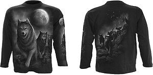 Spiral Direct Wolf Pack Moon Wrap Around Print Long Sleeved Tshirt Top
