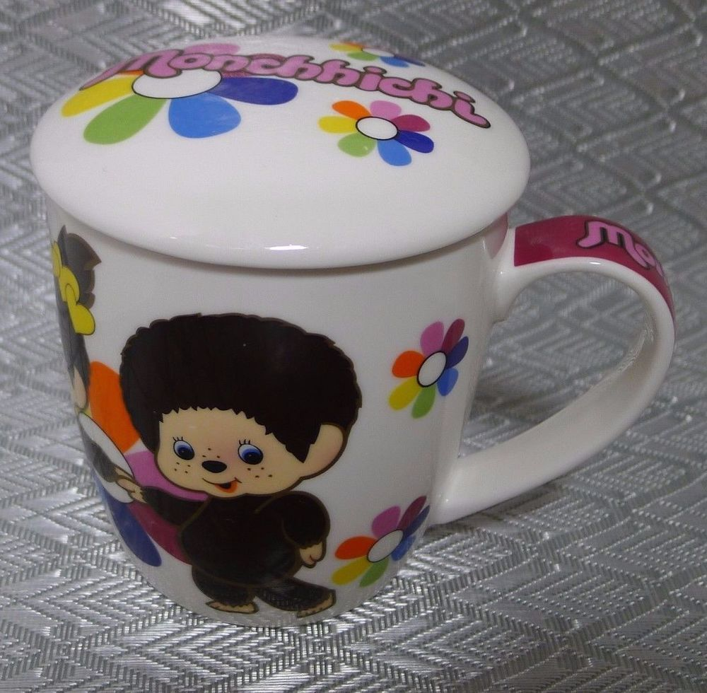 Monchhichi Ceramic Coffee Mug w/ Lid Boy & Girl Flowers