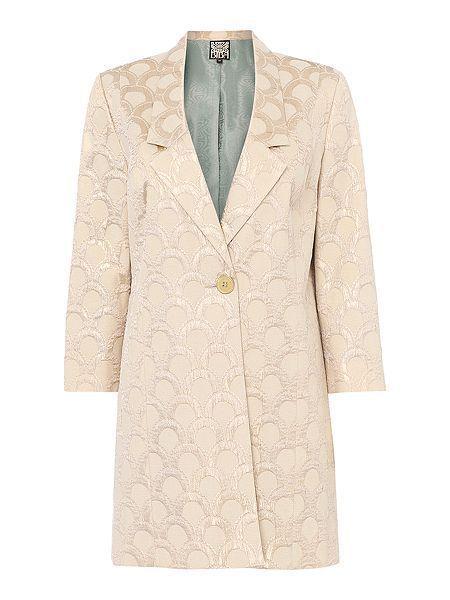 NEW BIBA Jacquard Contrast Lining Coat Jacket Blazer Gold Shimmer RRP £135