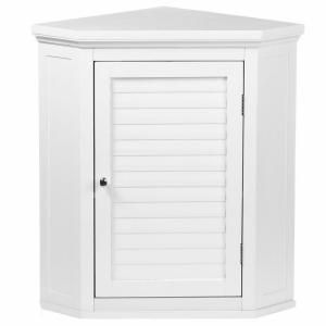 Elegant Home Fashions Simon 22 1 2 In W X 24 In H X 15 In D Corner Bathroom Storage Wall Cabinet With Shutter Door In White Hdt587 The Home Depot Bathroom Corner