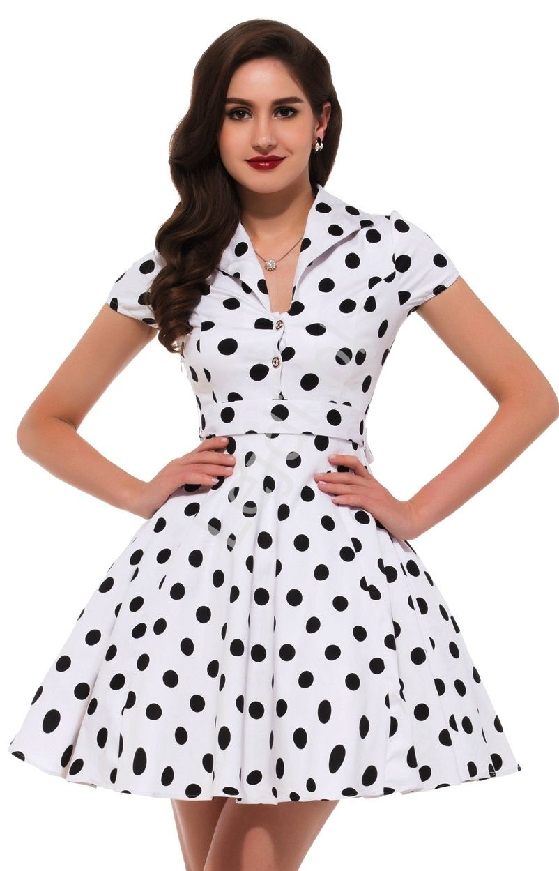 433100ab Biała rozkloszowana sukienka w czarne duże kropki | sukienka pin up ...
