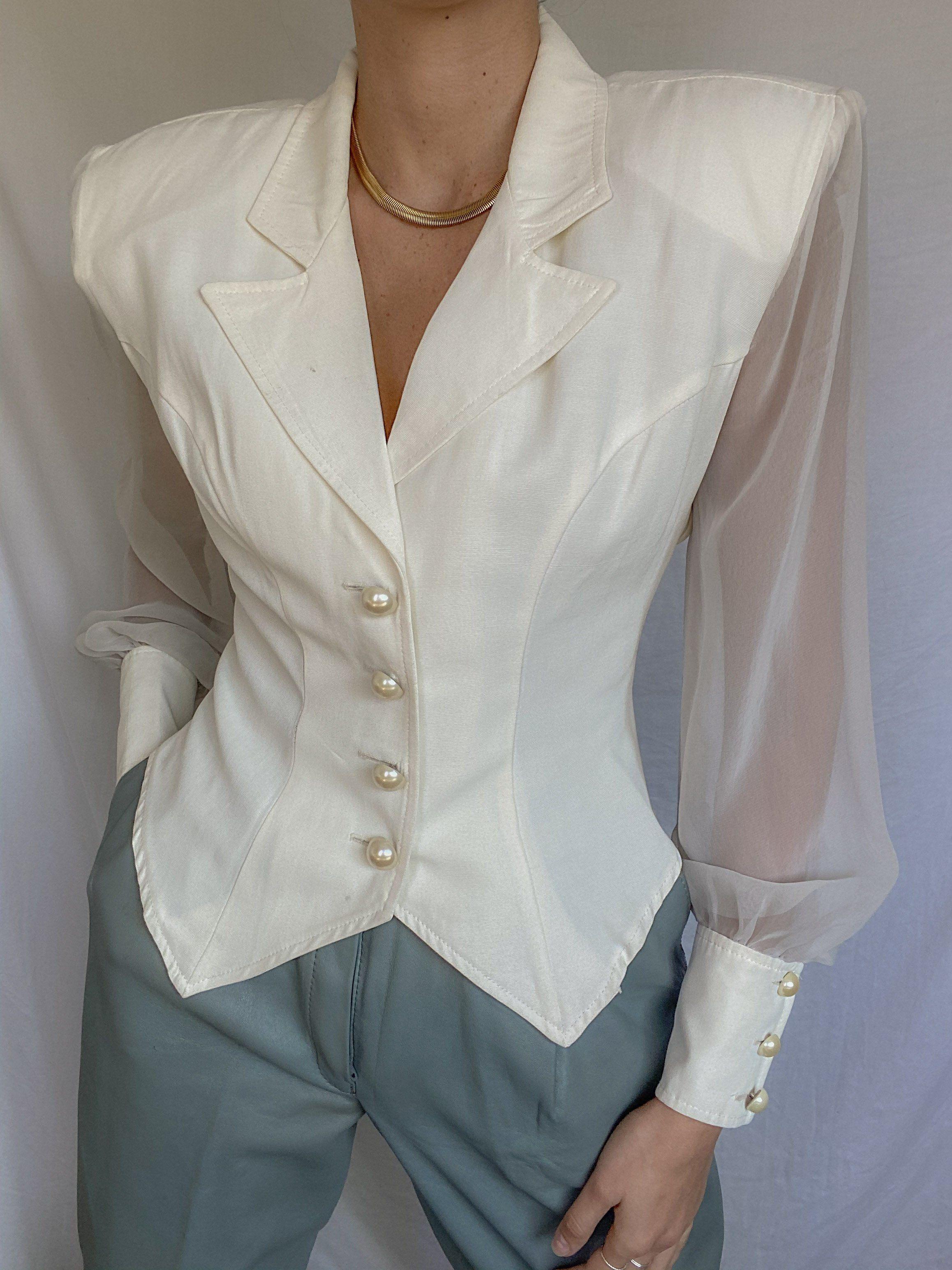 Photo of Vintage Cream Sheer Sleeve Blouse
