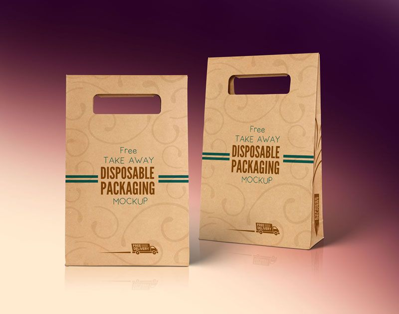 Download Free Kraft Paper Disposable Food Bag Packaging Mockup Psd Packaging Mockup Free Packaging Mockup Bag Mockup