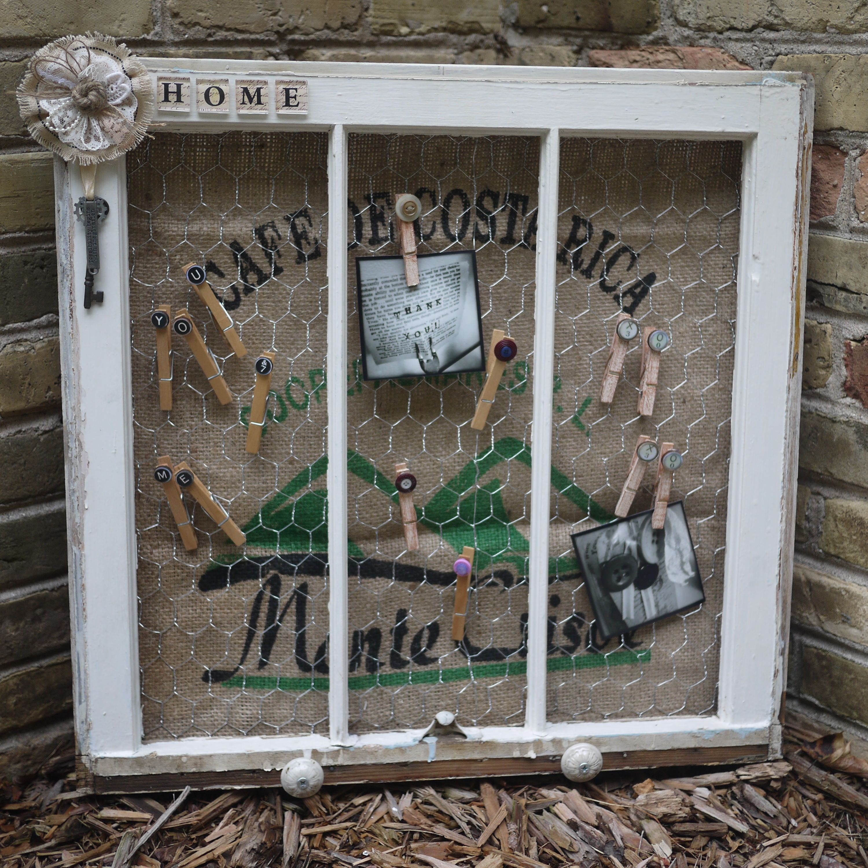Vintage Window Frame - White Distressed wood Frame - White Vintage ...
