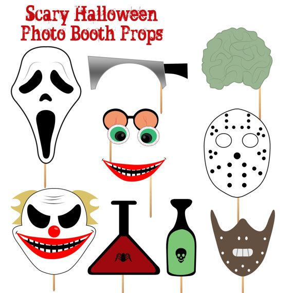 instant download scary halloween photo booth props printable party scream jason and hannibal masks scary clown - Halloween Photography Props