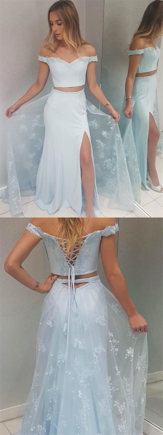 Two piece offtheshoulder light blue detachable prom dress with