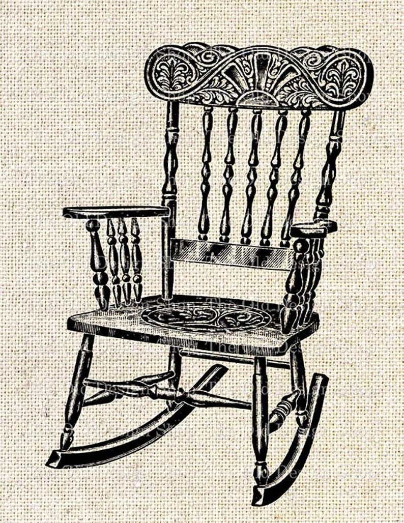 Vintage Rocking Chair Commercial Use Clip Art Illustration Etsy In 2020 Vintage Rocking Chair Rocking Chair Art