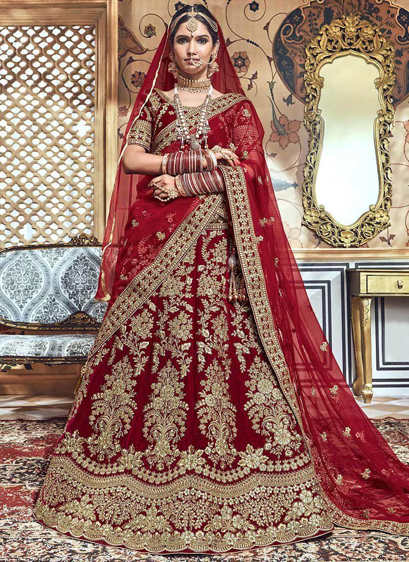 06ac4a23b1ca Maroon velvet embroidered heavy designer Indian wedding lehenga choli 4704