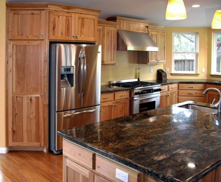 Comfortable Hickory Kitchen Cabinets I like the yellow walls and the ...