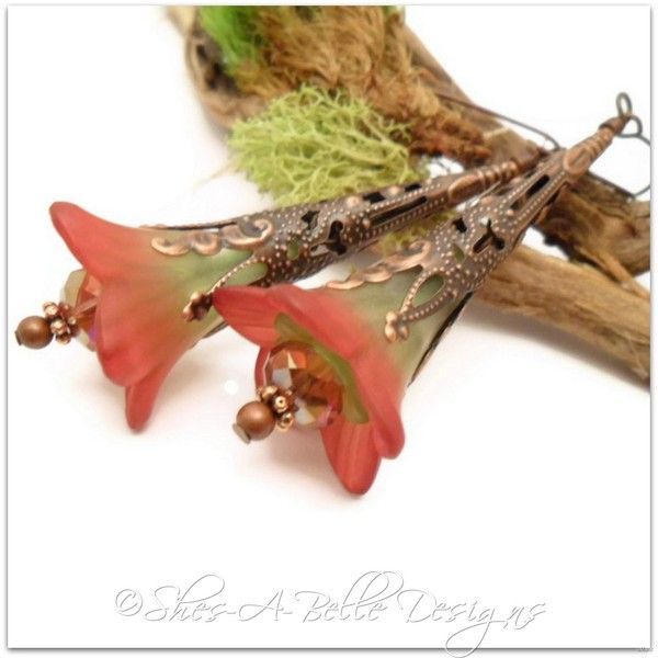 Springtime Fairy Flower Trumpet Earrings in Antique Copper, Vintage Style | Shes-A-Belle Designs  $22.00