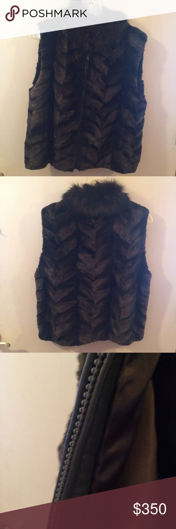 Fox fur vest. Hand sewn fox fur vest in excellent condition. It is lined and has a heavy duty zipper protected by a letter seam. It is a pattern in green and brown tones. A certain one of a kind item! Jackets & Coats Vests