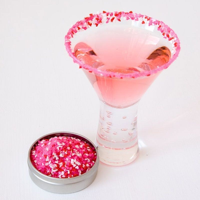 Love Candy cocktail rim sugar - Valentine's Day pink rim sugar #pinkrims